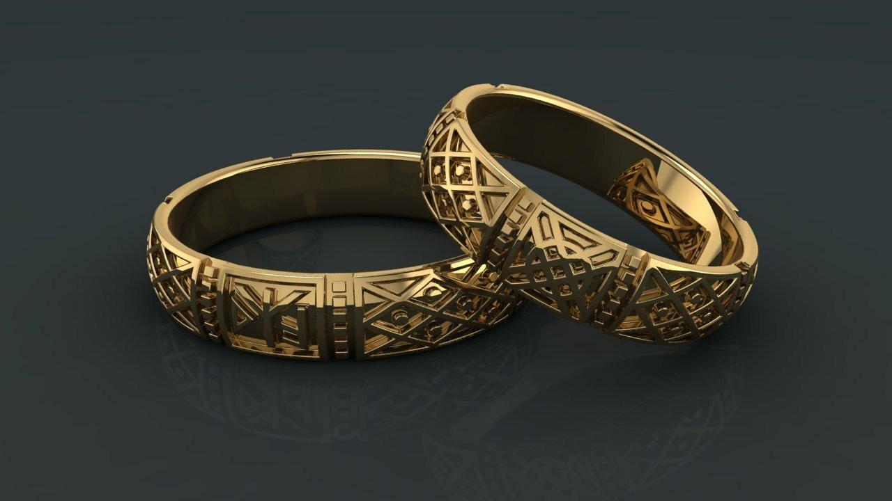9f7b75d7eb4d Купить «Славный род» - Обручальные кольца   Старославянские кольца из  золота. «