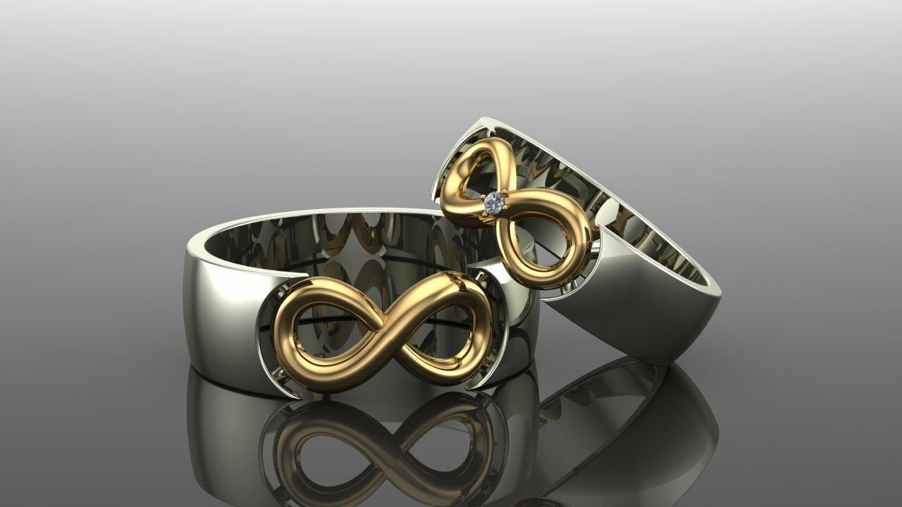 обручальные кольца из золота со знаком бесконечности