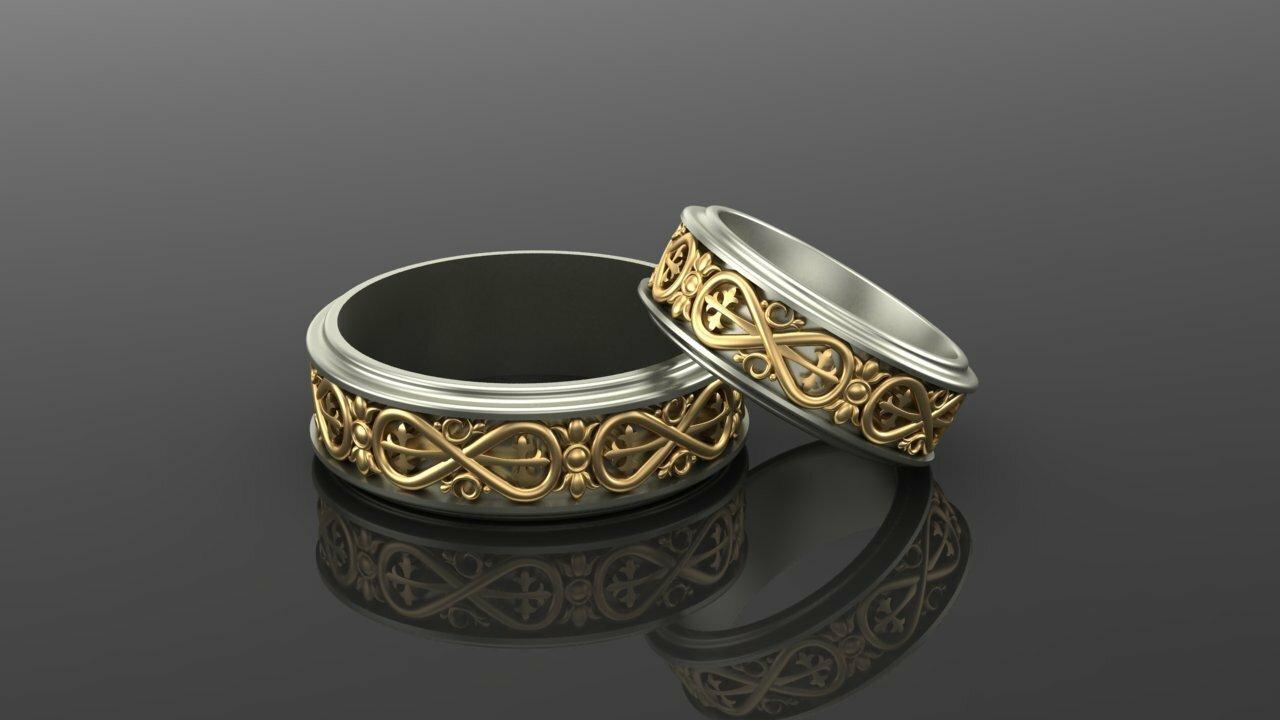 кольца обручальные с знаком бесконечность