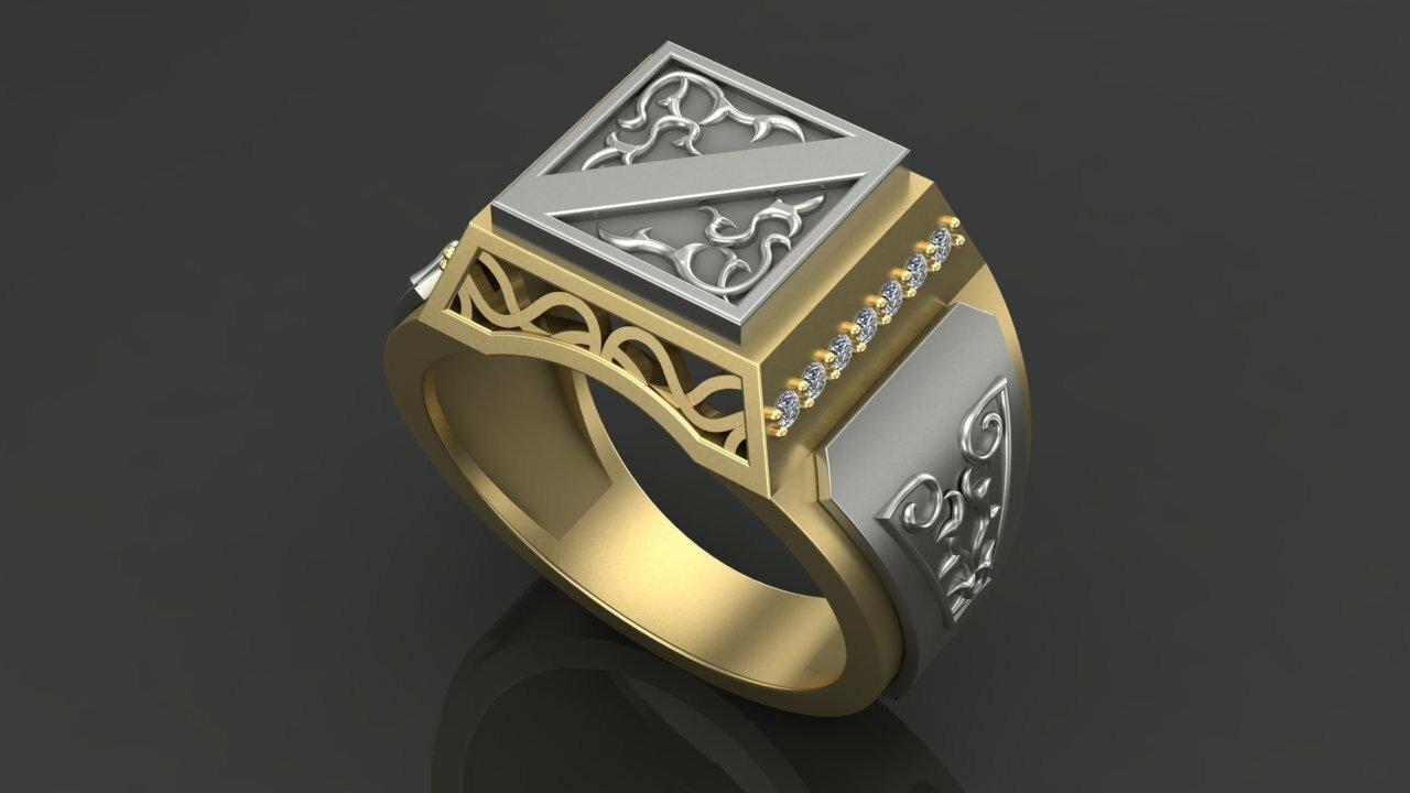 Печатки мужские золото с бриллиантами