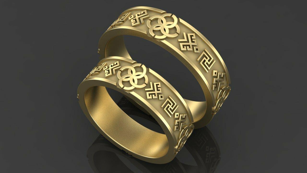 310e96f740a3 Купить «Оберег» - Обручальные кольца   Старославянские кольца из золота · «